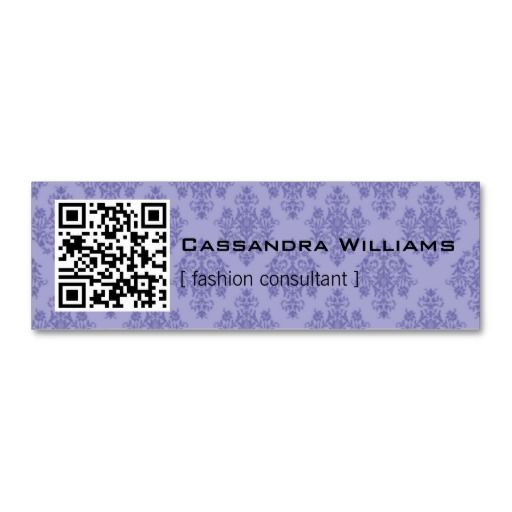 Damask Purple QR CODE Mini Business Cards Custom Business Cards - Mini business card template
