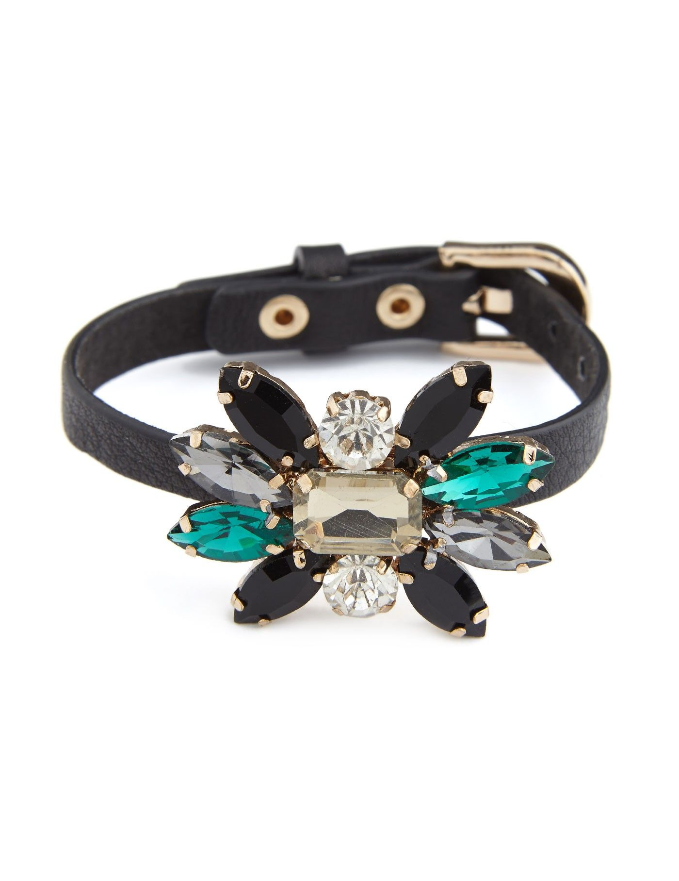 Juvenile Bracelet A Luxurious Leather With Imitation Stone Flowers Great Piece To