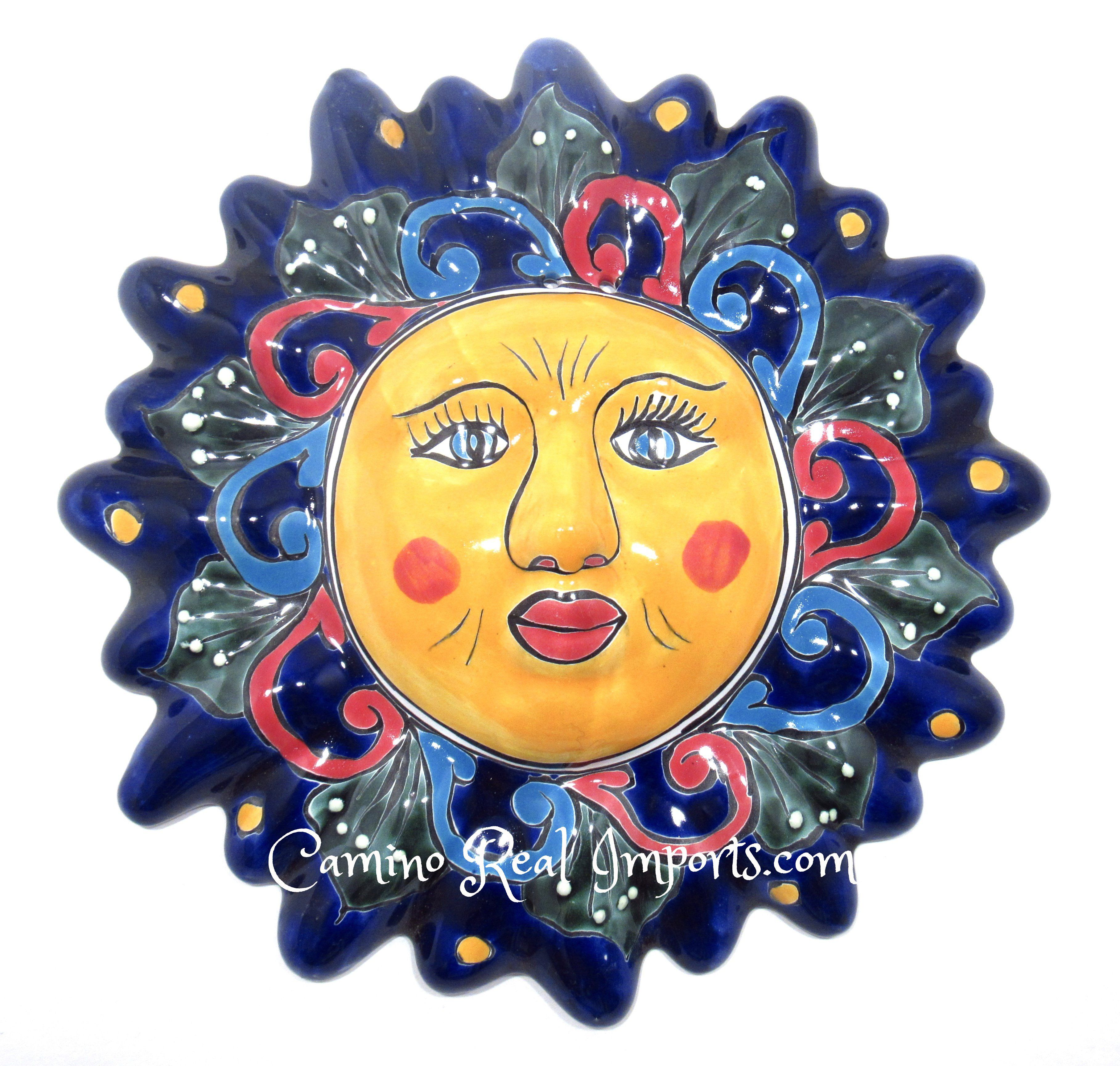 Mexican wall hanging talavera pottery sun face