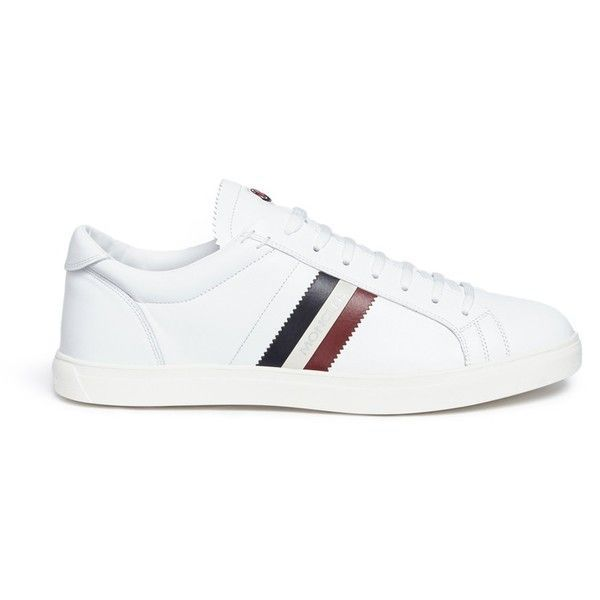 Moncler 'La Monaco' stripe leather sneakers ($350) ❤ liked on Polyvore featuring men's fashion, men's shoes, men's sneakers, white, colorful mens s…