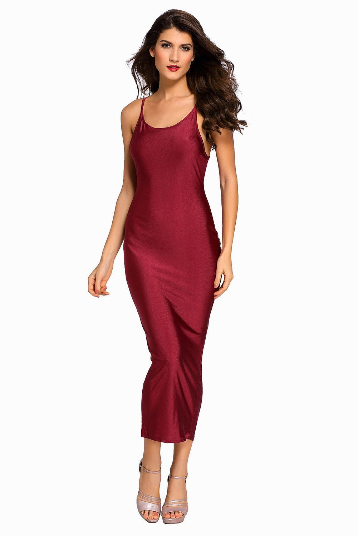 Burgundy Lace-up Back Midi Party Dress