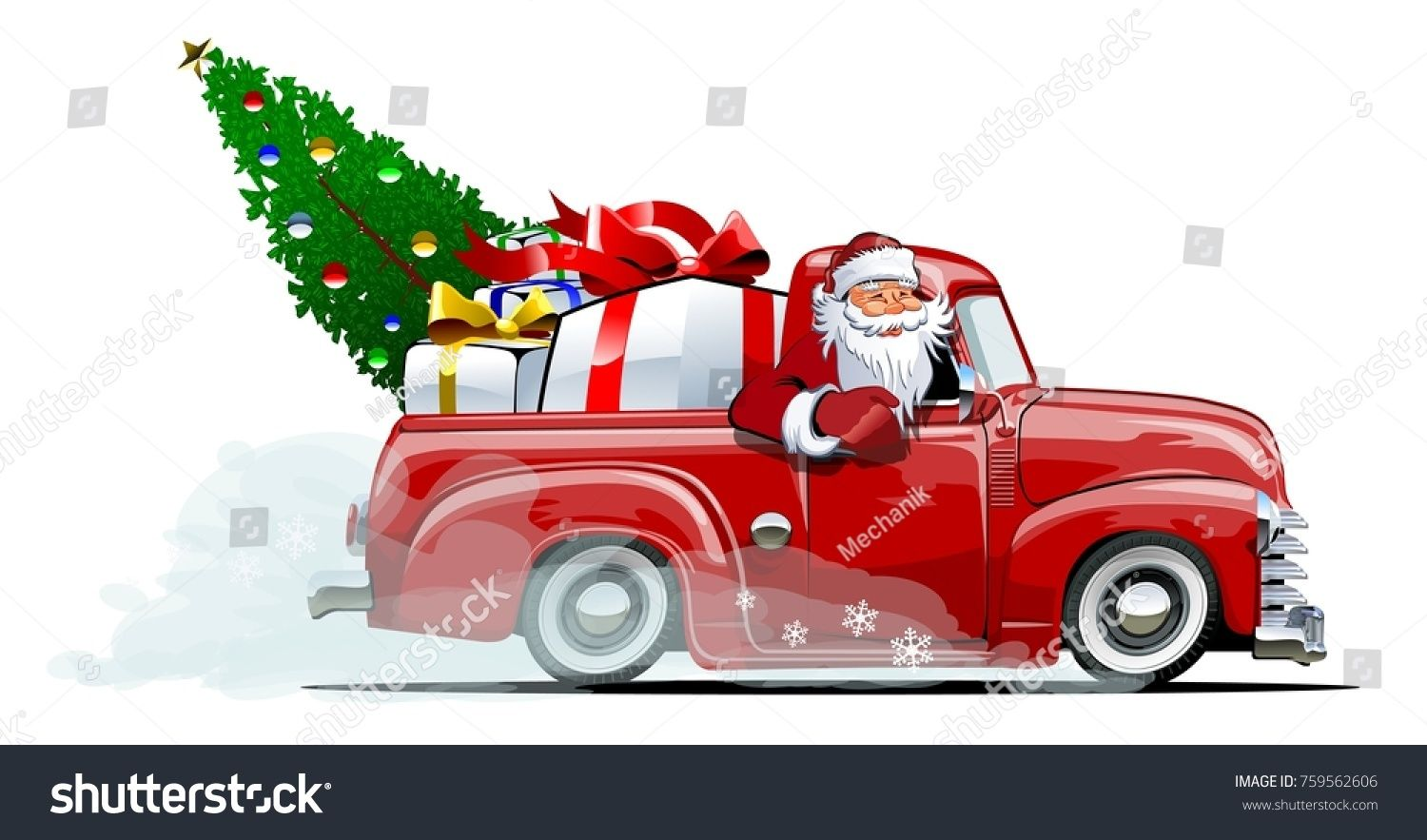 Cartoon Retro Christmas Delivery Pickup Available Eps 10 Vector