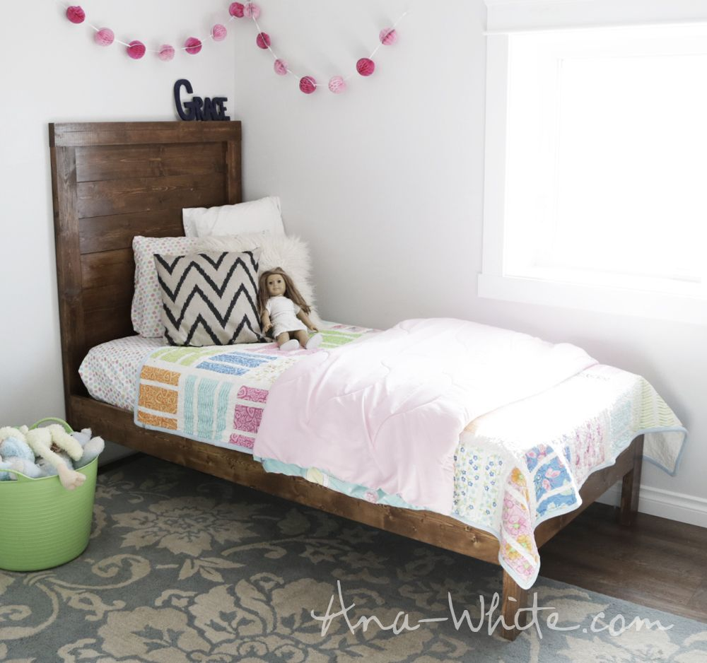 Simple Planked Wood Bed - Free PLANS! Ana White | Let\'s Build ...