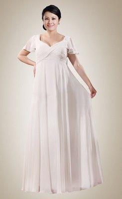 7f016741abff8 Trendy Empire Sheath V-neck Ruched Plus Size Wedding Dress