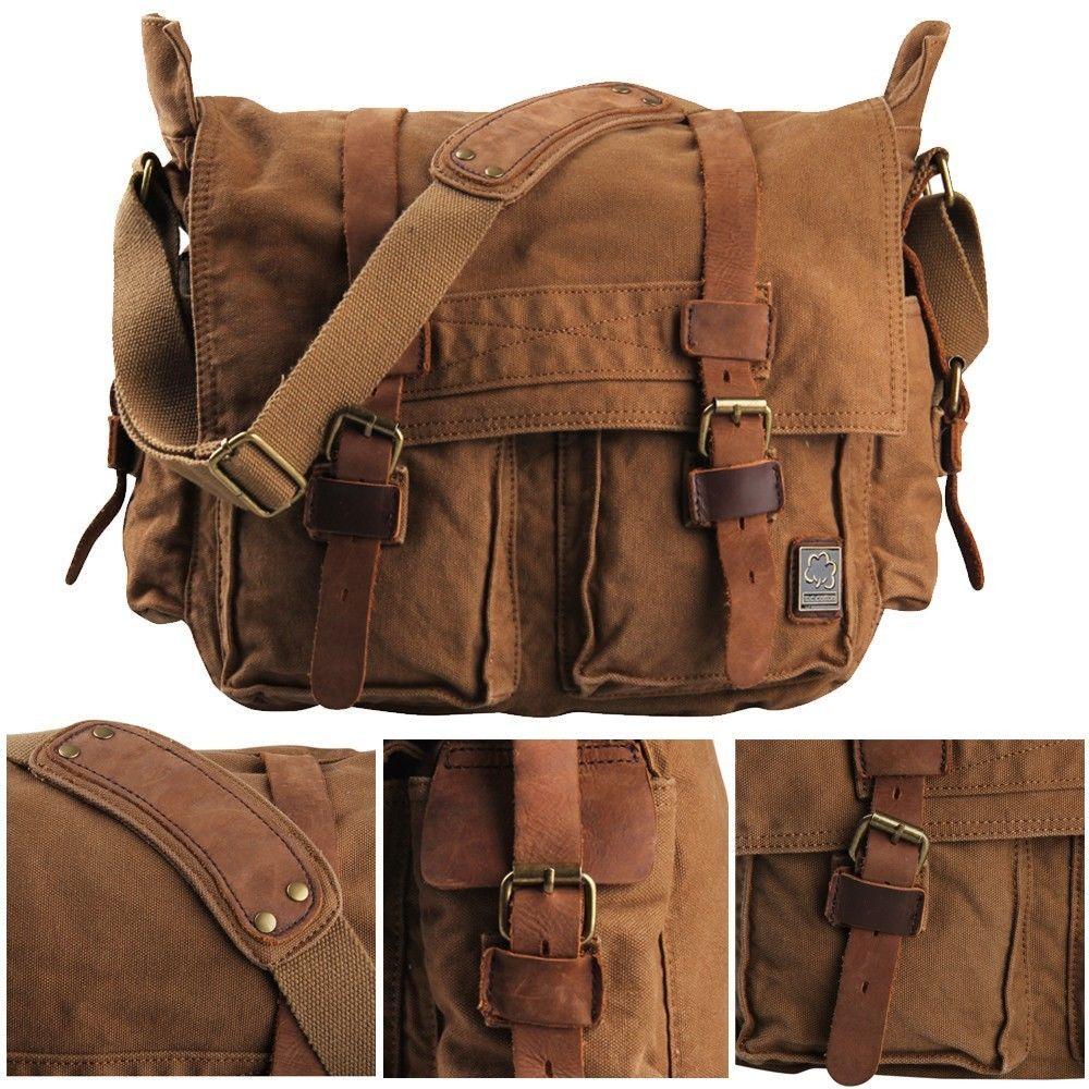 Vintage Leather Men Messenger Bag Canvas College Briefcases Duffle Gym Sport Bag