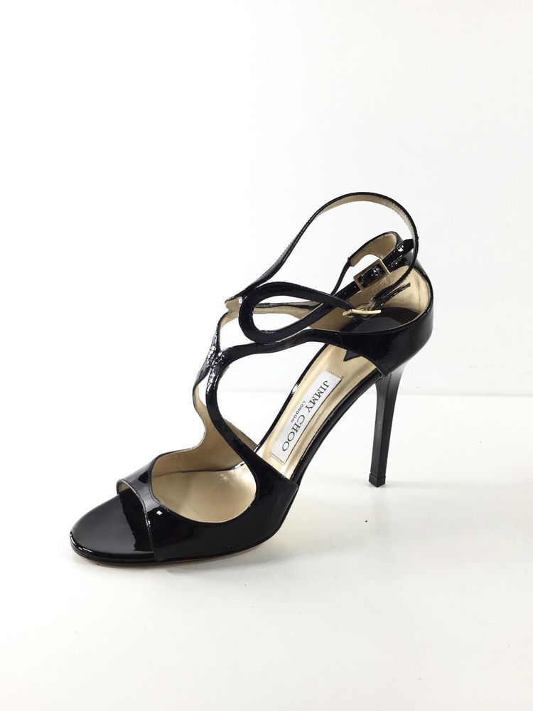 be5ab817991f 132 Jimmy Choo Lang Black Patent Leather Strappy Heel Sandals Women s Sz 38  M