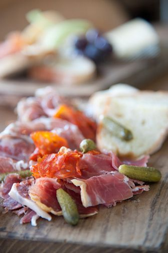 Charcuterie plate with bread