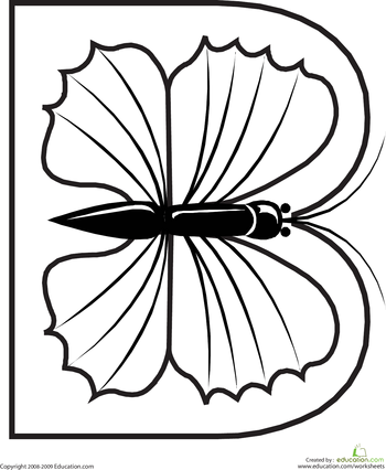 letter b coloring page animal alphabet worksheets and butterfly. Black Bedroom Furniture Sets. Home Design Ideas