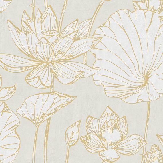 Wallpaper Flower Wallpaper Floral Wallpaper Modern Etsy Floral Wallpaper Lotus Wallpaper Abstract Wallpaper Contemporary gold flower wallpaper images