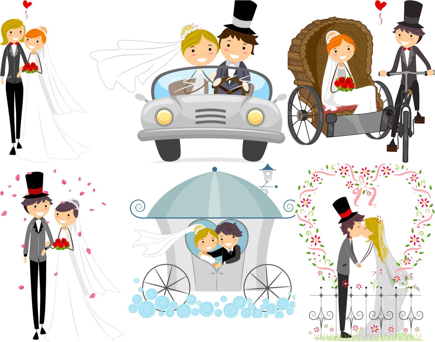 Vector wedding backgrounds with happy newlyweds   ai, eps, free ...