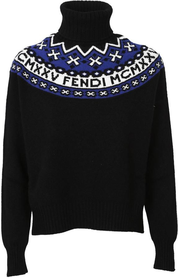 logo intarsia turtleneck jumper - Black Versus Discount Marketable Extremely Cheap Price 2BZwGfU