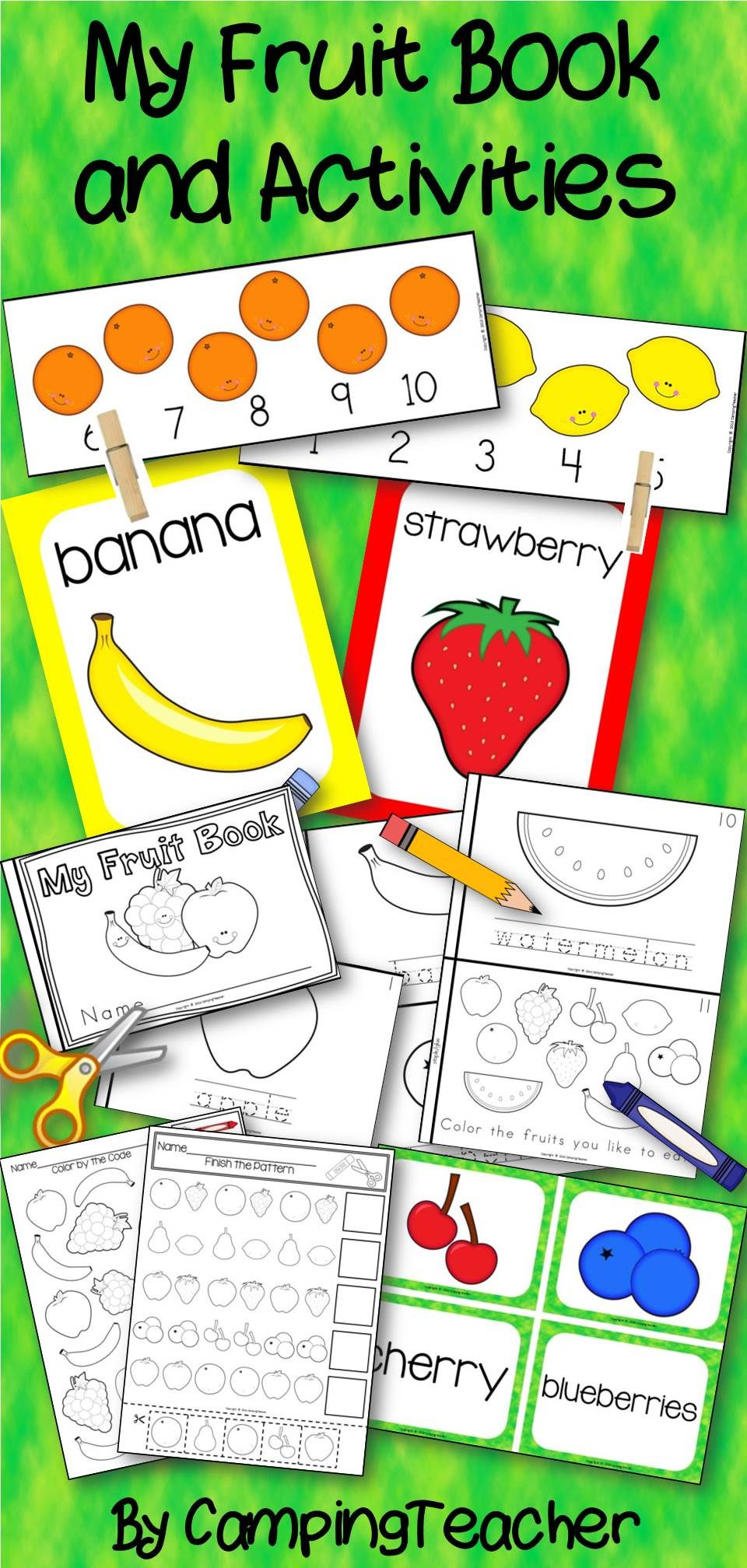 My Fruit Book And Center Activities Activities Elementary Physical Education Preschool Activities [ 2016 x 960 Pixel ]