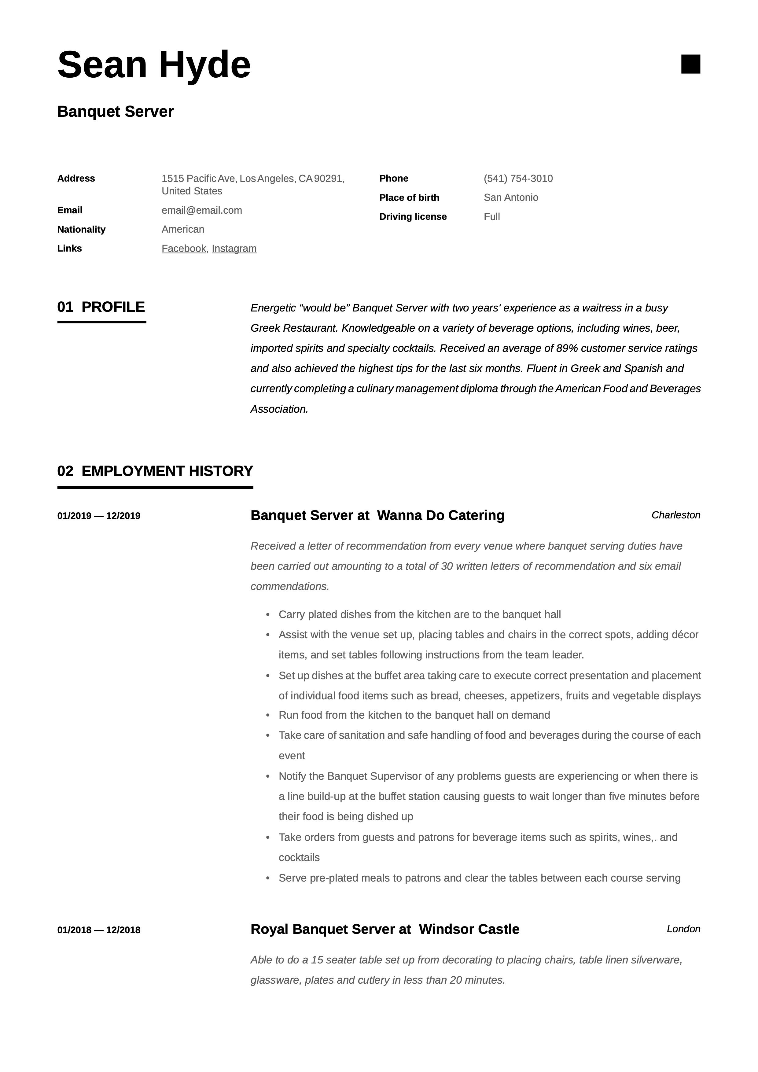 pin on banquet server resume examples