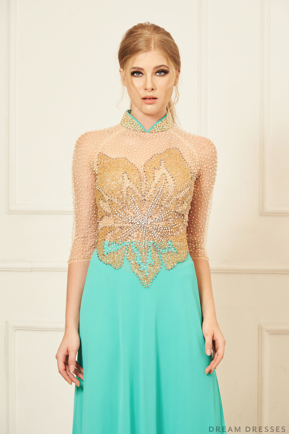 Color Block Modern Ao Dai Vietnamese Bridal Dress (FAE
