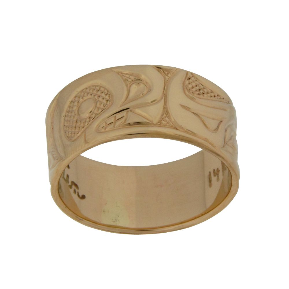 Handcarved First Nations 14K Gold Eagle and Bear Ring - Artina's Jewellery