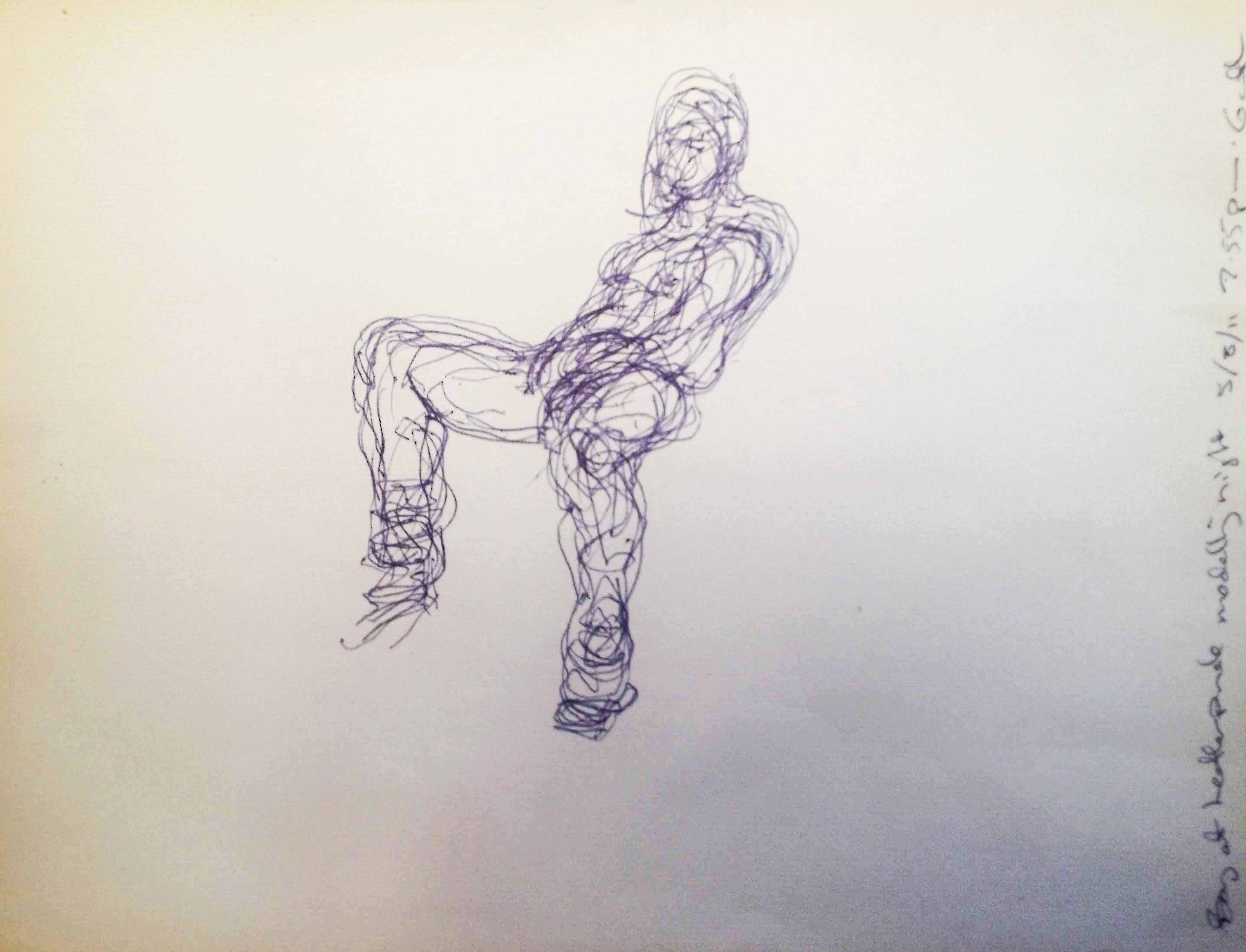 Line Drawing Boy : Boy waiting in back room of gay brothel drawing