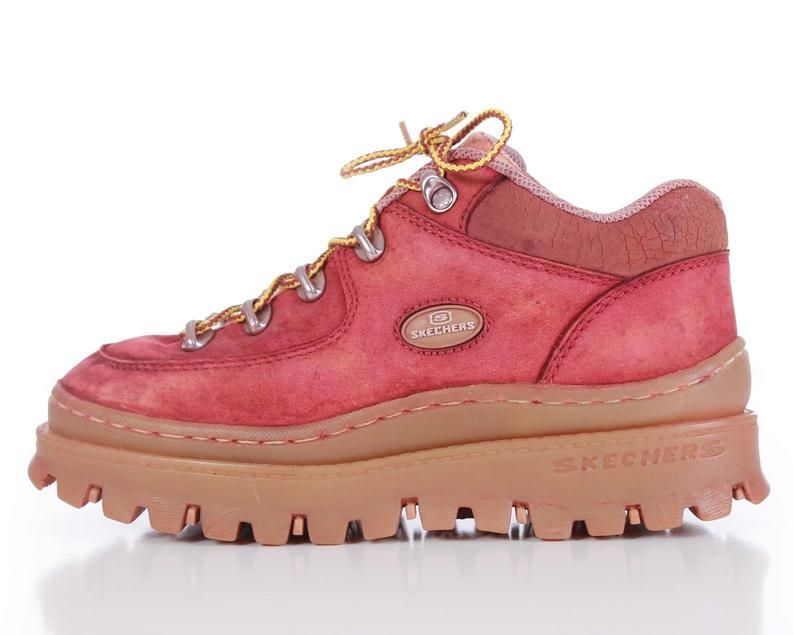 90s Platform Skechers Jammers Distressed Red And Tan Etsy