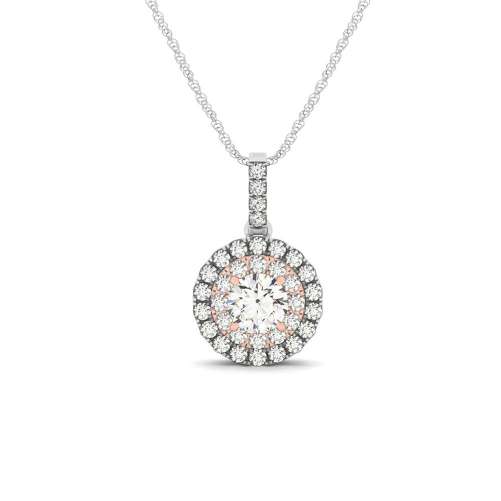 2 tone double round halo diamond necklace halo diamond white 2 tone double round halo diamond necklace aloadofball Choice Image