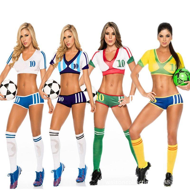 Envío de la gota Sexy Nena Sexy Traje de Fantasía de Fútbol Copa Del Mundo  Cheerleader Fancy Dress Outfit 10 países M L d624b4e529ba1