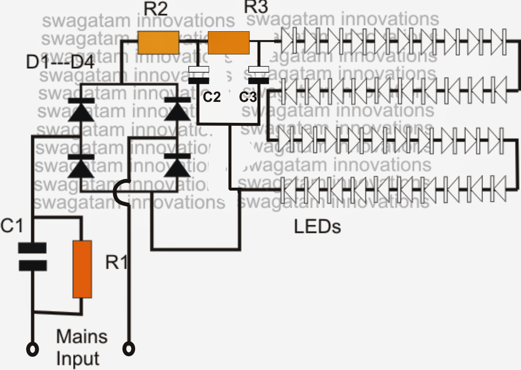 The post elaborately expleian how to buil a simple LED bulb using many LEDs  in series and powering them through a capacitive power supply circuit  Contents1 ...
