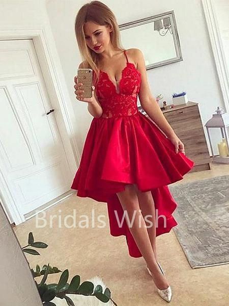 7675c875a4d Red Lace Top High-low Deep V-Neck Spaghetti Strap Short Homecoming Dresses