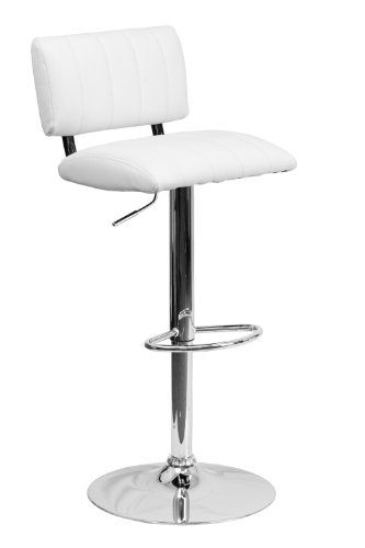 Flash Furniture Contemporary Two Tone White Vinyl Adjustable Height Footrest Bar Stool With Chrome Base ObiwanSales http://www.amazon.com/dp/B00EV5OEJI/ref=cm_sw_r_pi_dp_uEVXtb0ZJ690EMV1