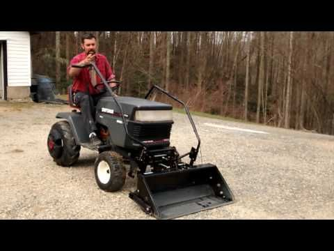 Lawn Tractor Front Scoop Review And Demonstration Youtube Homemade Tractor Lawn Tractor Tractors