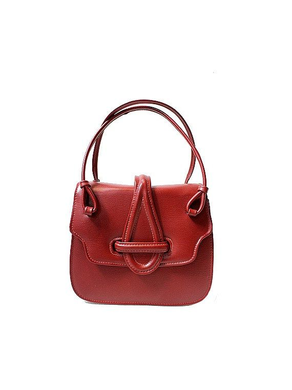 1960 red small HANDBAG faux leather by lesclodettes on Etsy