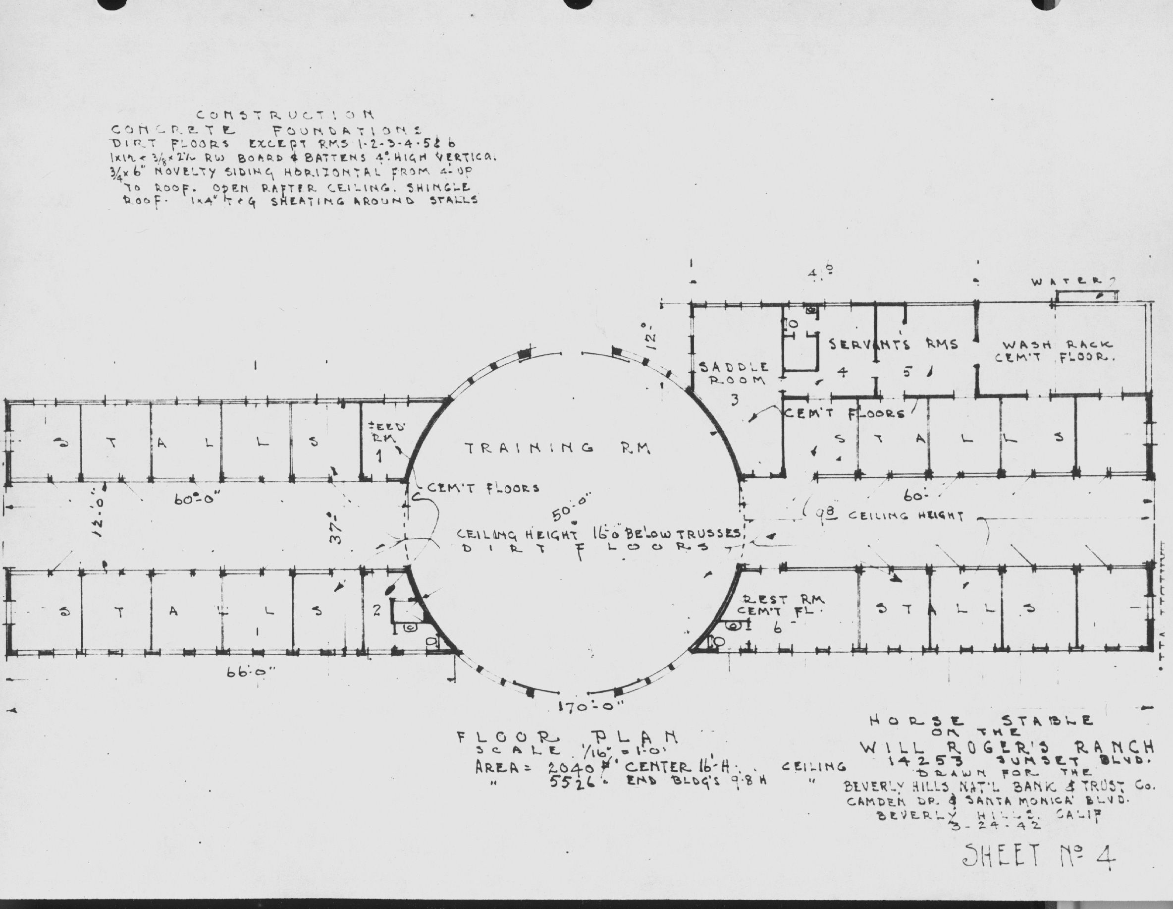 Will Rogers\'s Stable Blueprint showing dimensions of central rotunda ...