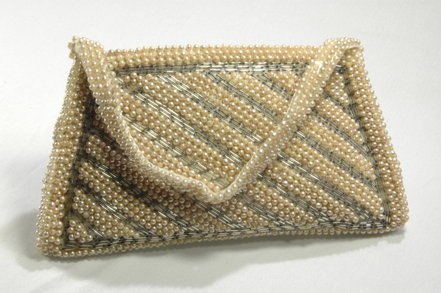 White Pearl Silver Bugle Beaded Evening Bag Made In Japan Beaded Handbag Cell Phone Holder Bridal Pearl Purse by WhiteCabbageVintage on Etsy
