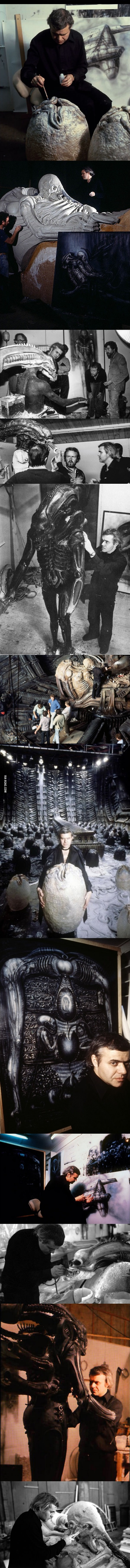 H.R. Giger, on set, creating the props, set-pieces and costumes for 'Alien'