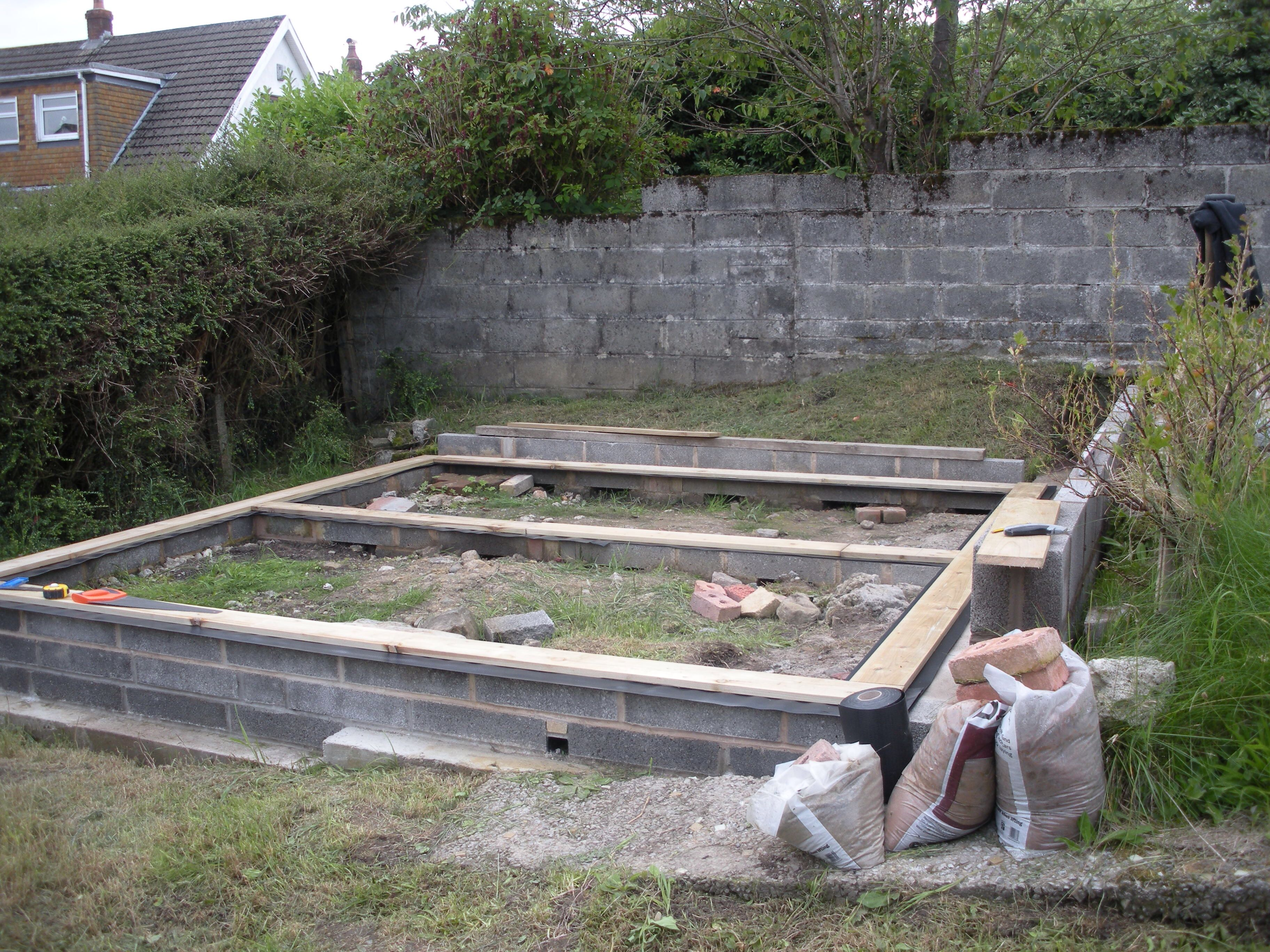 12x12 Shed Base Uneven Ground Levelled Using Concrete Strip Foundations Sole Plate From Treated Timber Wi Backyard Storage Sheds Free Shed Plans Shed Plans