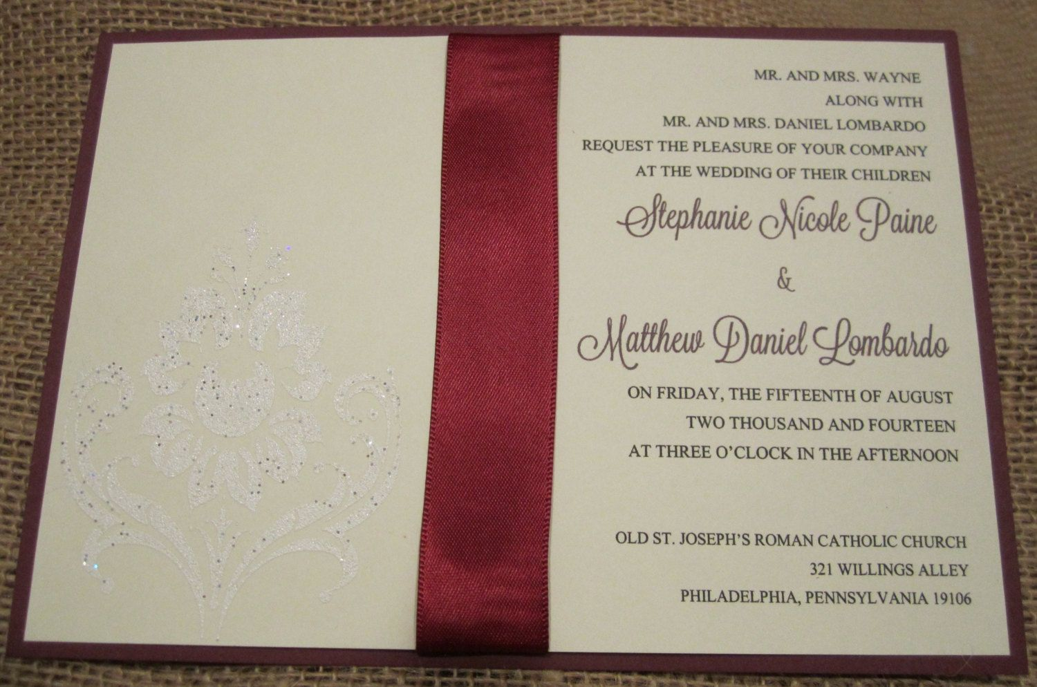 Beautiful embossed wedding invites. | Cards, Letters & Stationary ...