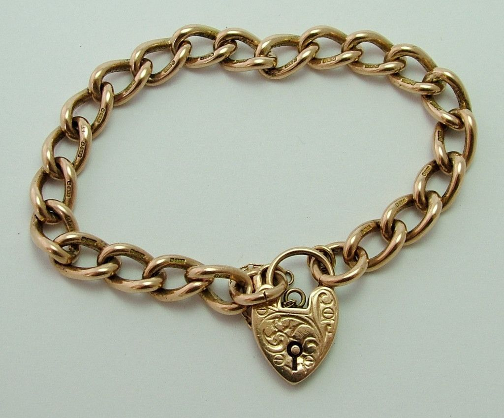 1950 S English Solid 9ct Rose Gold Padlock Bracelet With Patterned