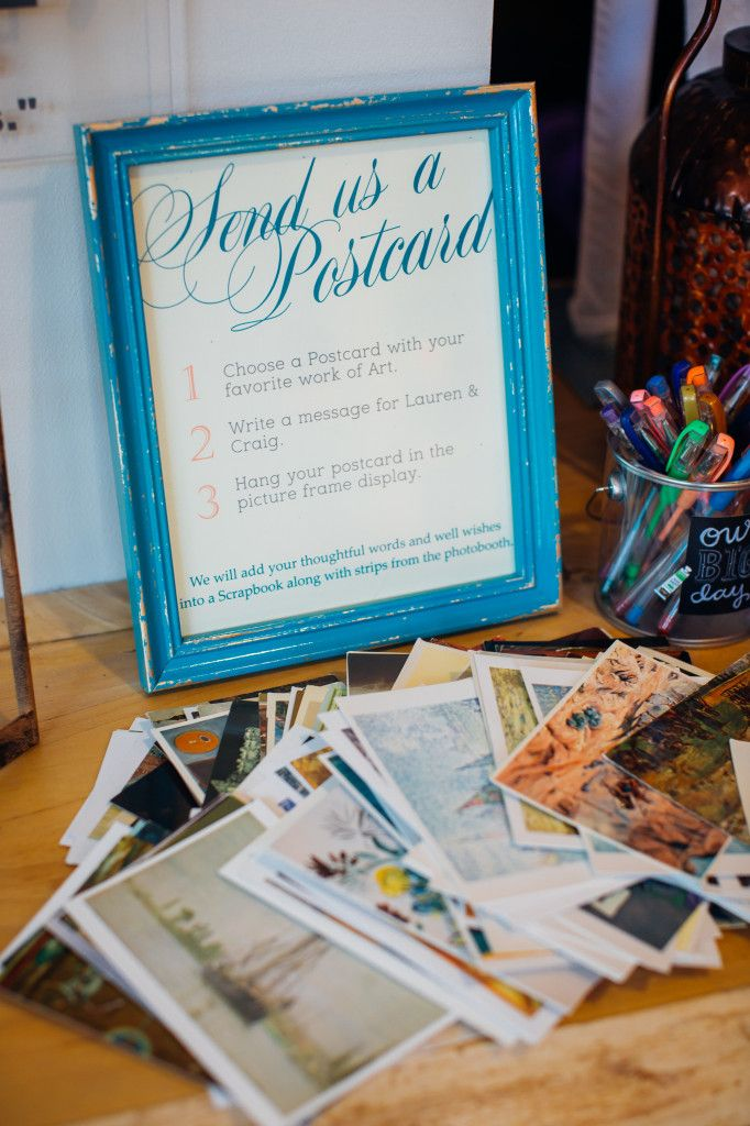 send us a postcard / vintage / wedding sign / reception / postcard
