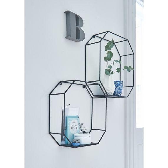 wandregal set 2 tlg metallstreben achteckig. Black Bedroom Furniture Sets. Home Design Ideas