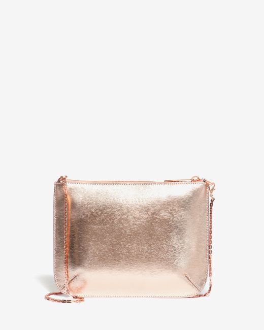 X Rosegold Colour Block Leather Clutch Bag Rose Gold Bags Ted Baker Uk