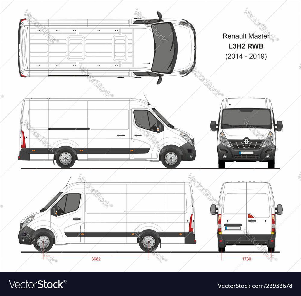 Renault Master Cargo Van L3h2 Rwd 2014 2019 Vector Image On Renault Master Vans Cargo