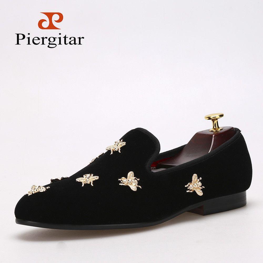 Piergitar new Bee metal men velvet shoes party and wedding men loafers  Luxury brands DG men's