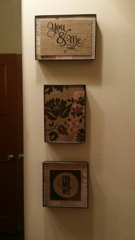 Turned out too cute...scrapbook paper & cheap frames, less than $3 ...