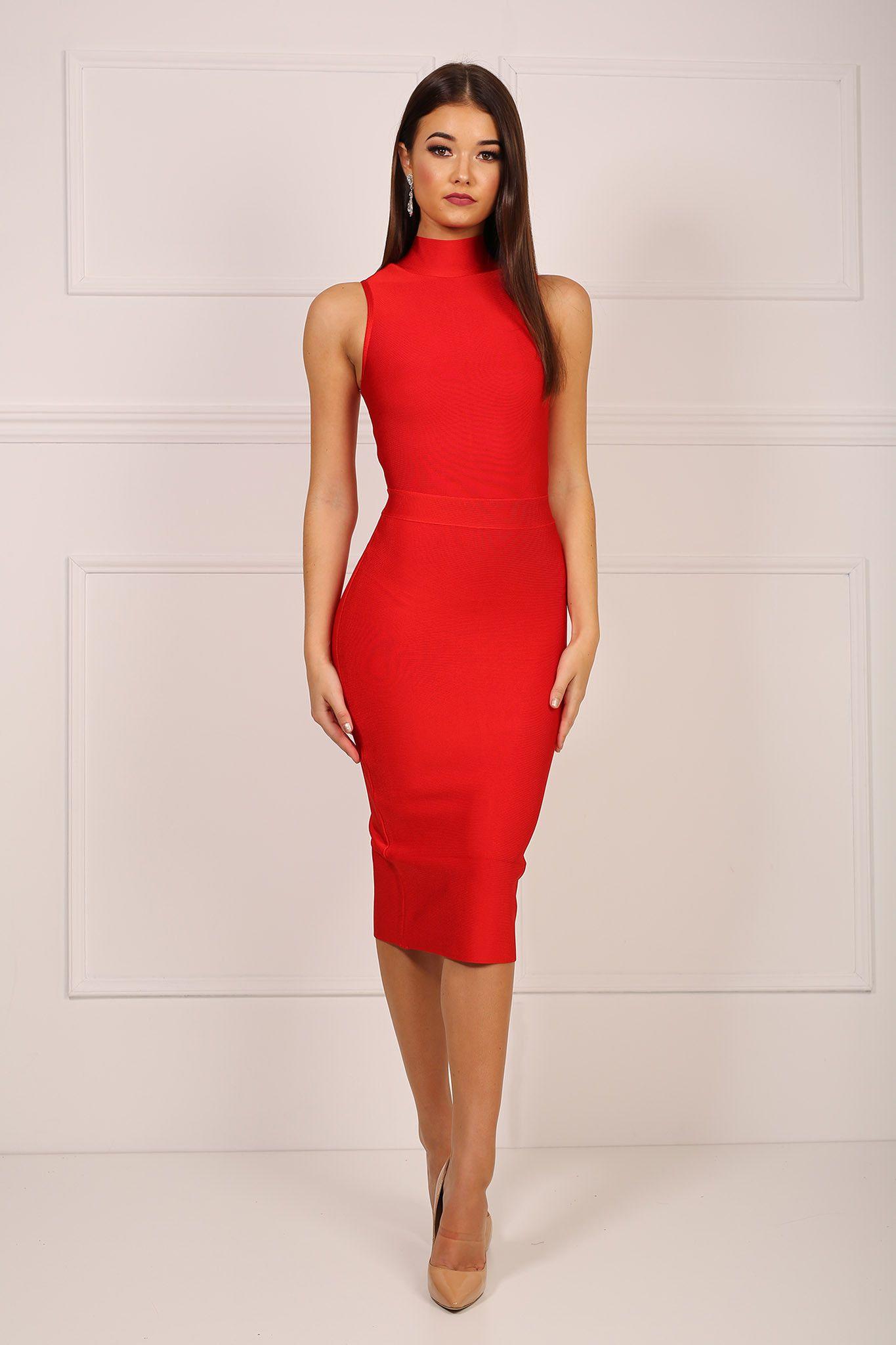 Front of red high neck design sleeveless midi knee length form fitted  bandage dress e88c1c084580