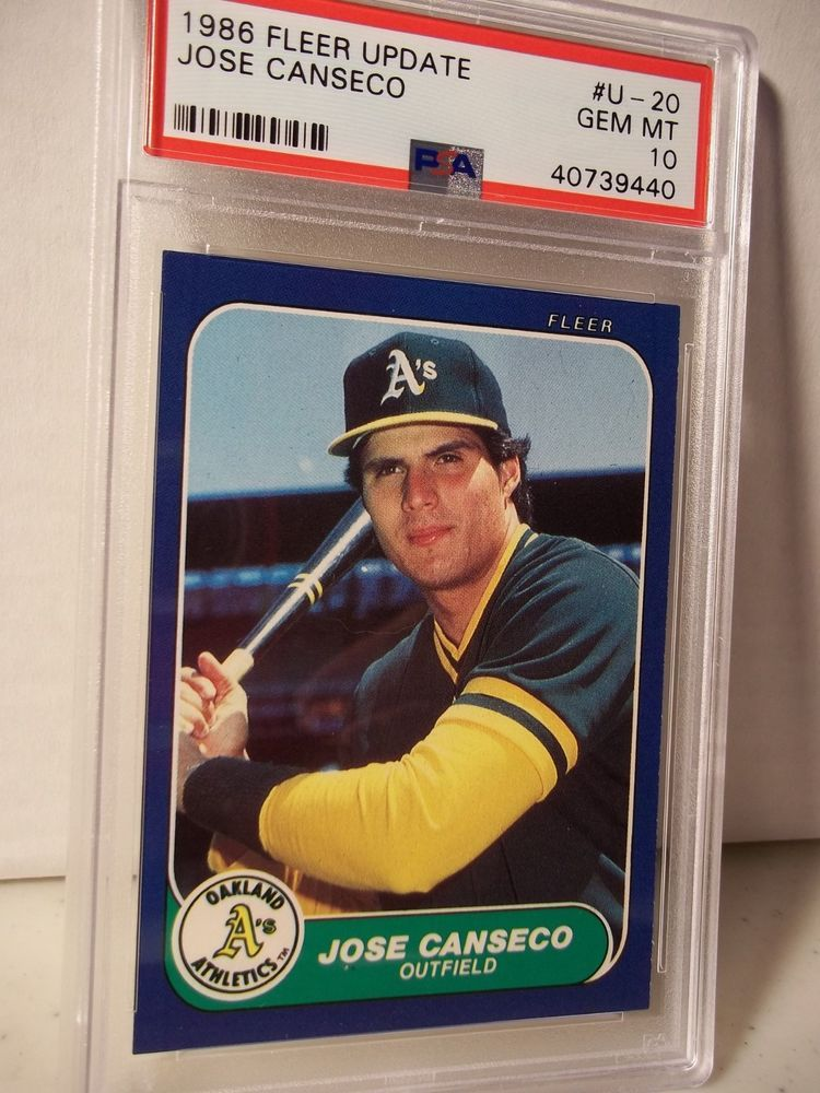 1986 Fleer Update Jose Canseco Rookie Psa Gem Mint 10 Baseball Card