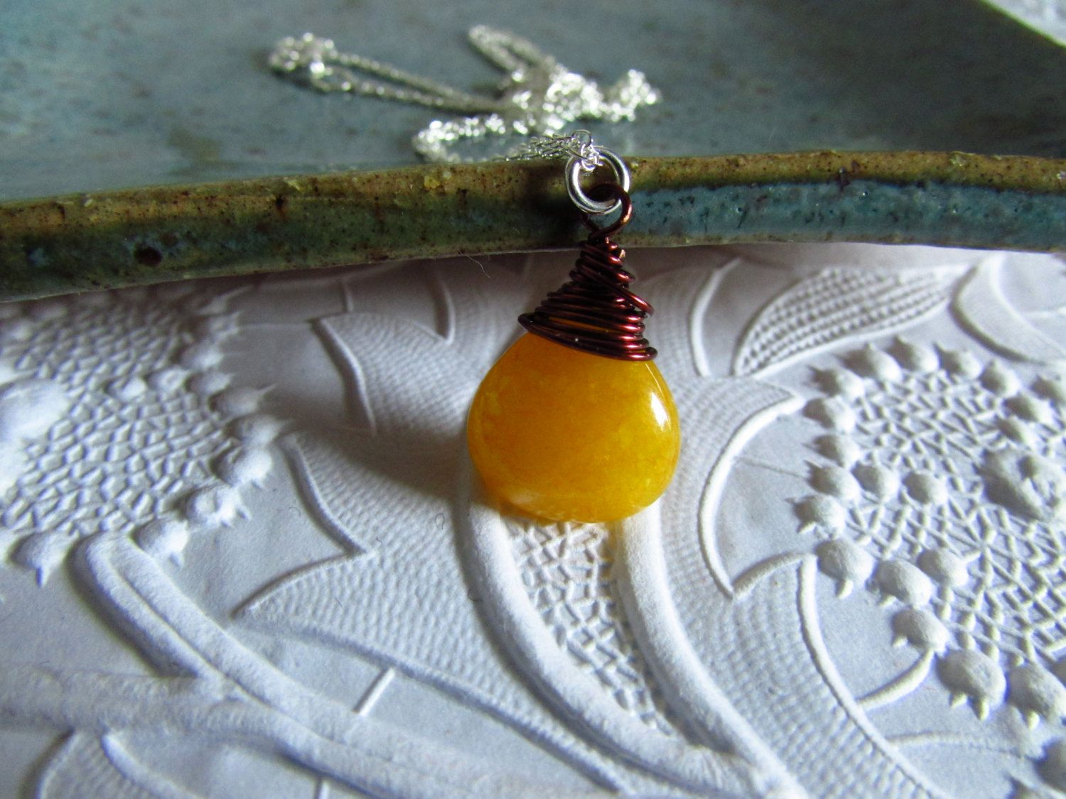Petite Briolette Yellow Jade Sterling Silver Necklace by AStyleEveryday on Etsy