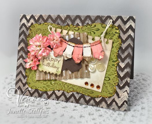 Birthday card by Janelle Stollfus using Verve Stamps.