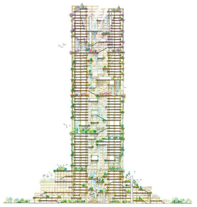 Gallery of Japan Plans for Supertall Wooden Skyscraper in Tokyo by 2041  - 8