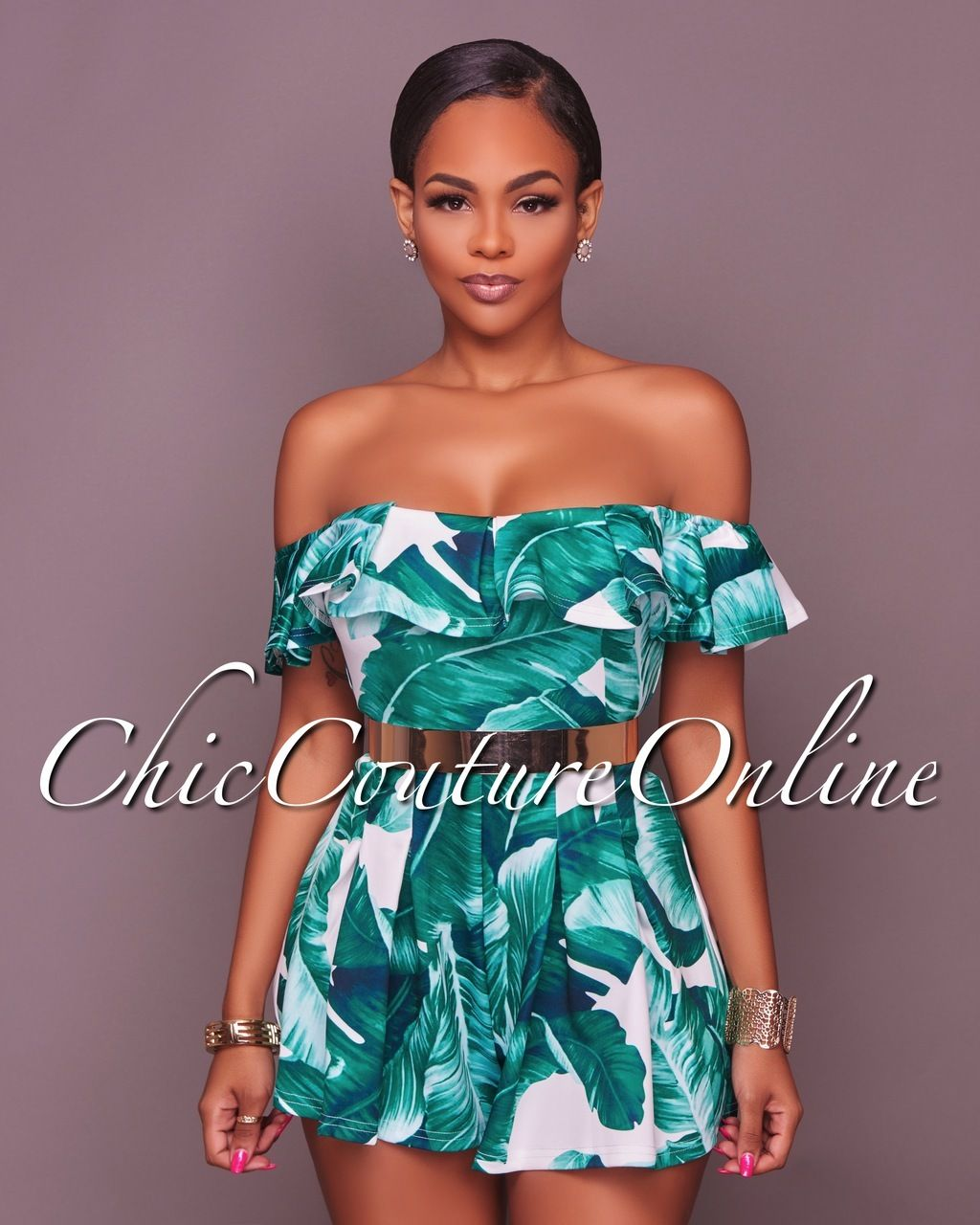 d7c4d5039fdb Chic Couture Online - Katalina White Green Leaf Print Off The Shoulder  Romper