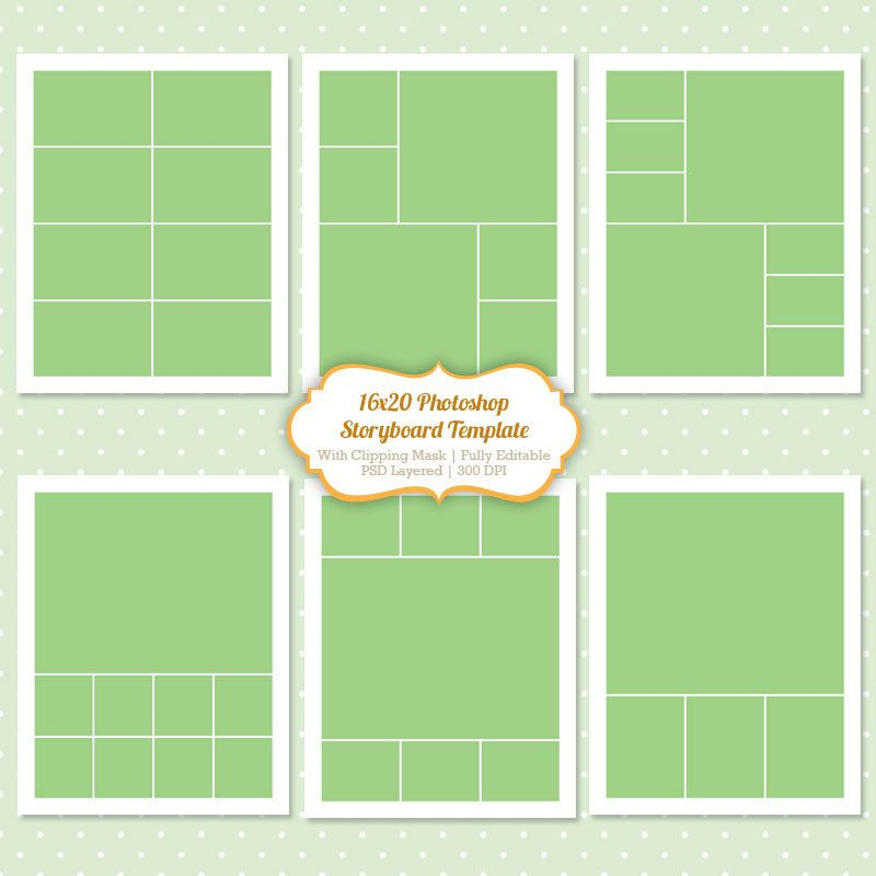 Instant Download Storyboard Photoshop Templates 16x20 Digital ...