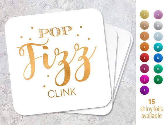 Pop Fizz Clink Wedding Favors, Custom Coaster, Party Coasters, Personalized Reception Coasters, Engagement Decor