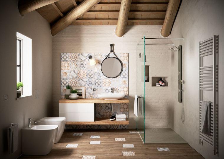 Pavimento Bianco Colore Pareti : Rivestimenti bagni esempi parete ruvida colore bianco arredamento