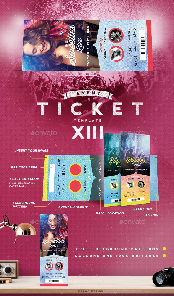 Event Tickets Template XIV Ticket template, Event ticket and - design tickets template